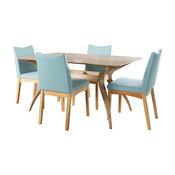 GDF Studio 5-Piece Gertrude Fabric and Finished Wood Dining Set, Mint/Oak