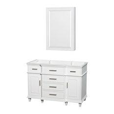 """Single Vanity, White, No Countertop, No Sink, 24"""" Medicine Cabinet, 47"""""""
