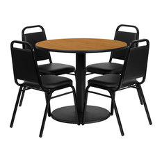 Offex 36'' Round Natural Laminate Table Set With Trapezoidal Back Banquet Chairs