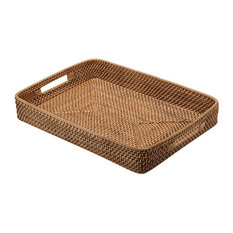 KOUBOO - Rattan Serving Tray with Cut-Out Handles, Honey Brown - Serving Trays