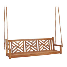 Teak Wood Chippendale Triple Outdoor Porch Swing, made from A-grade Teak Wood