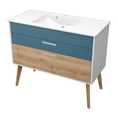 Malmö Bathroom Vanity Unit, Aqua Blue and Beech, 80 cm