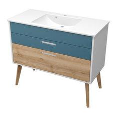 HELD Möbel - Malmö Bathroom Vanity Unit, Aqua Blue and Beech, 80 cm - Bathroom Vanity Units & Sink Cabinets