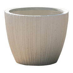 White Vertical-Lines Round MgO Planter