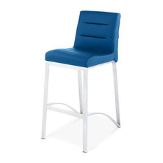 Lynx Counter Height Contemporary Bar Stool with Metal Base - Dark Blue
