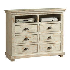 Residence   Callie Entertainment Cabinet, Distressed White   Dressers
