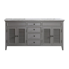 "Piedmont 72"" Double Vanity With White Marble Top, Gray, Without Mirror"