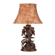 Sculpture Table Lamp Forest Monarchs Feather Fabric Hand Painted OK