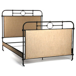 New Transitional Beds by Kathy Kuo Home Alaric Burlap Antique Iron Industrial Rustic Queen Bed Frame