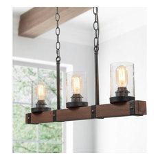 3-Light Farmhouse Wooden Pendant