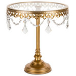 "Amalfi Décor - 10"" Glass-Top Tall Metal Cake Stand With Crystals, Gold - Dimensions: 10"" L x 10"" W x 10.5"" H"