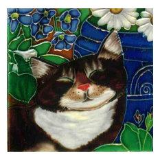 Sleeping Cat in the Garden Tile