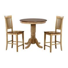 "Sunset Trading 3 Piece Brook 36"" Round Pub Table Set, Fancy Slat Stools"