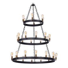 Maxim Lighting Noble 30-Light Chandelier, Black/Brass