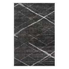 Contemporary Striped Polypropylene Rug, Dark Gray, 9'x12'