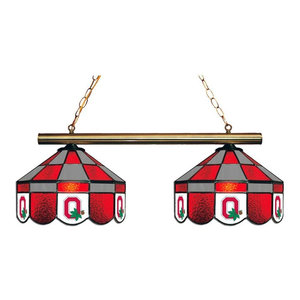 2 Light Ohio State Buckeyes Chandelier With Tiffany Lampshades