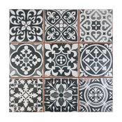 "13""x13"" Faventia Ceramic Floor/Wall Tiles, Black"