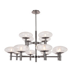 Grand 12-Light Two-Tier Chandelier, Brushed Steel Finish, Clear Glass Shade