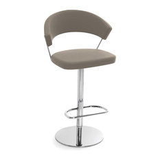 New York Swiveling with Gas Lift Bar Stool Skuba Leather, Taupe