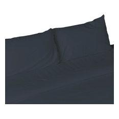 Egyptian Cotton Feel Cool Soft, 4-Piece SheetDeep Pockets, Navy, Full