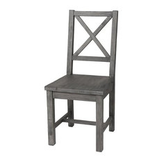 Cross Back Wooden Dining Chair - Grey Wash