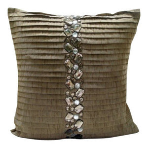 Brown Crystals 40x40 Silk Decorative Cushion Covers for Couch, Almost Real