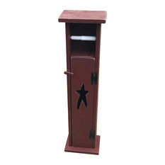 Primitive Pine Toilet Paper Holder Storage Stand With Rustic Star Cut Out, Burgu