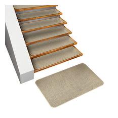 Set of 15 Skid-Resistant Carpet Stair Tread & Matching Landing Rug, Ivory Cream