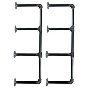 Industrial Set of 2 Wall Mount Bookcase, Iron Metal, 4 Tier Pipe Shelves