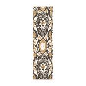 Bohemian BHS-0035843 Woven Cotton Dark Brown Ikat Kitchen Rug | 2' x 8'
