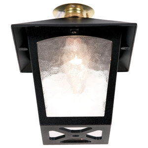 York Porch Golden Lantern Outdoor Flush Ceiling Light