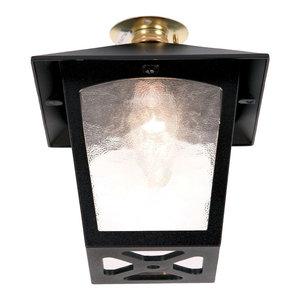 York Porch Golden Lantern Outdoor Flush Ceiling Light