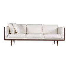 Kardiel Woodrow Lush Midcentury Modern Sofa, Aniline Leather, Walnut/White