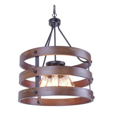 Rustic Wooden Chandelier, Natural 5-Light Pendant Light Wood and Iron