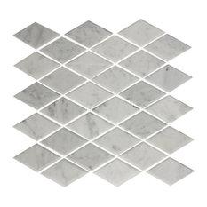 "11""x12"" Carrara Marble White Beveled Diamond Tile, Offset Pattern"