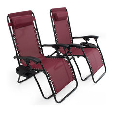 Zero Gravity Lounge Patio Chairs With Cup Holder, Set of 2, Burgundy