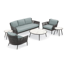 Nette 6-Piece Sofa and Tables Set, Carbon/Pewter/Seafoam/Ninja