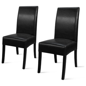 Valencia Bonded Leather Chairs, Set of 2, Black