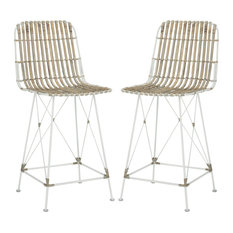 Safavieh   Minerva Wicker Counter Stool, Set Of 2, White/White   Bar