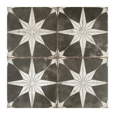 "17.63""x17.63"" Royals Estrella Ceramic Floor and Wall Tile, Set of 5, Night Black"