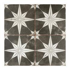 SomerTile Kings Star Ceramic Floor and Wall Tile, Case of 5, Night Black