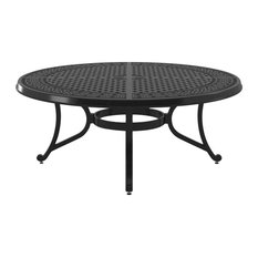 Burnella Outdoor Round Cocktail Table, Brown