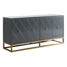 """Best Master Furniture Senior 64"""" Transitional Wood Sideboard in Gray/Gold Plated"""
