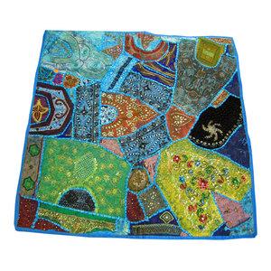Mogul Interior - Consigned Indian Sari Blue Table Cloth - Tapestries