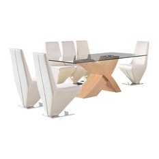 Valencia Glass, Oak Dining Table With 6 Rita Leather Chairs, Ivory