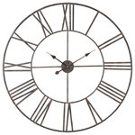 "Aspire Home Accents - Solange Round Metal Wall Clock, Gray, 36"" - This attractive wall clock boasts a sleek design that blends with a variety of decorating styles. Crafted from iron and featuring an open pass-through design. This large wall clock fits seamlessly into any home or office. Available in multiple sizes and finishes."