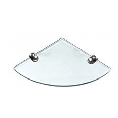 """8""""x8"""" Floating Clear Corner Tempered Glass Shelf with HARDWARE"""