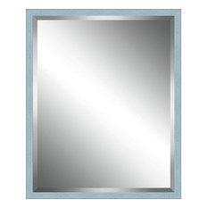 "Sky Blue Washed Wood Framed Beveled Plate Glass Mirror, 20""x20"""