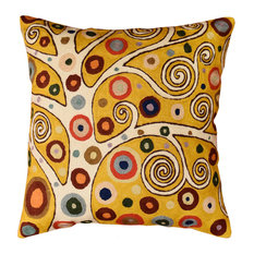 Klimt Throw Decorative Pillow Cover Soulful Yellow Gold Tree Of Life Wool 18x18""