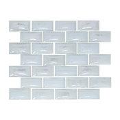 "Curved White Milk Glass Subway Tile, 6""x6"" Sample"